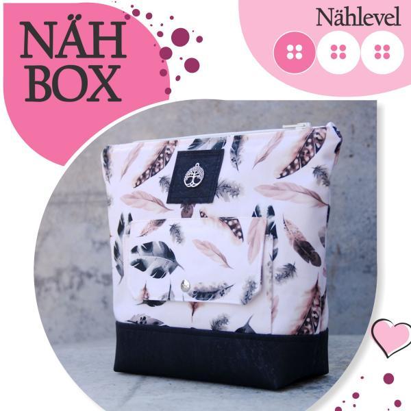 Nähbox große Kosmetiktasche - Feathers Nude