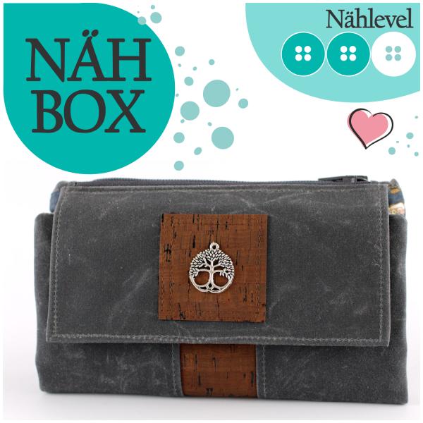 Nähbox 'Smaragd Geldbörse' - Waxed Dark