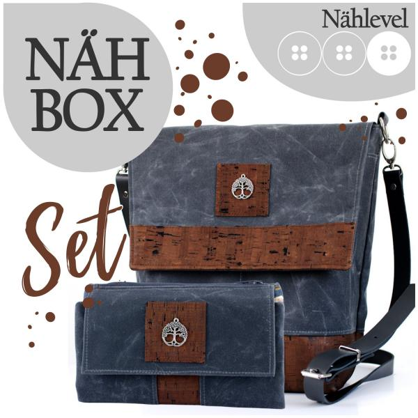 Nähbox Set - Amber & Geldbörse - Waxed Dark