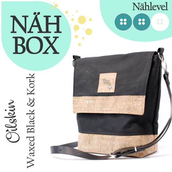 Nähbox 'Amber' - Waxed Black & Kork