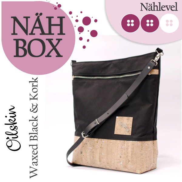 Nähset Shopper - Waxed Black & Kork